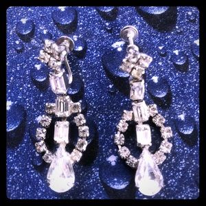 Classic, Faux diamond dangly earrings, screw back